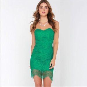 Lulu's Green Strapless Lace Dress